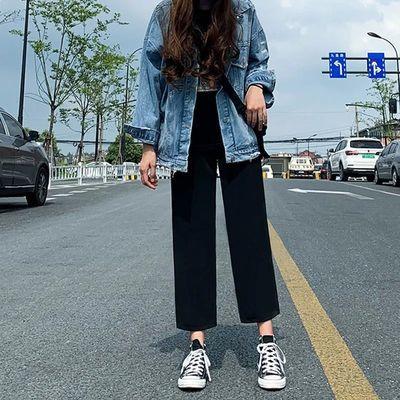 黑色阔腿直筒裤女韩版学生九分裤春夏季高腰显瘦宽松西装休闲裤子