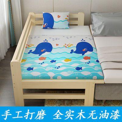 实木儿童床男孩女孩定制带护栏小床单人床拼床加宽婴儿床拼接大床