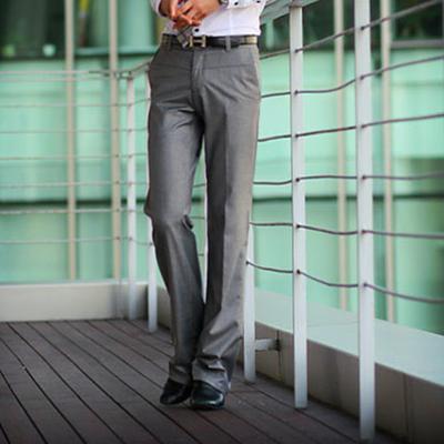 夏季修身白色微喇叭裤男商务休闲大脚西装裤时尚百搭免烫直筒西裤