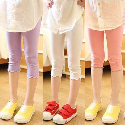 女童打底裤春秋薄款莫代尔儿童白色连裤袜中大童九分长裤夏季外穿