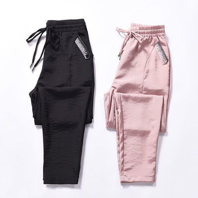 紫色直筒西装裤女设计感2020春夏新款脚口翻边高腰显瘦九分休闲裤