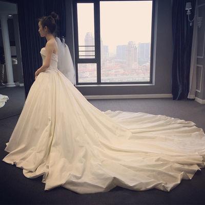 婚纱礼服裙2020新款拖尾新娘女网红同款中学生成人礼显瘦梦幻仙女
