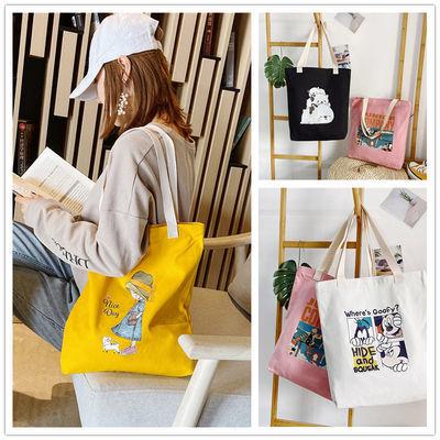 简约休闲帆布包女学生韩版大容量收纳包原宿风超市购物手提袋包