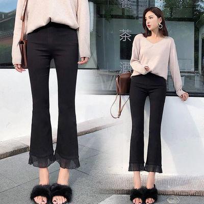 高腰喇叭裤女2020新款春秋九分外穿打底裤黑色微喇显瘦薄款长裤子
