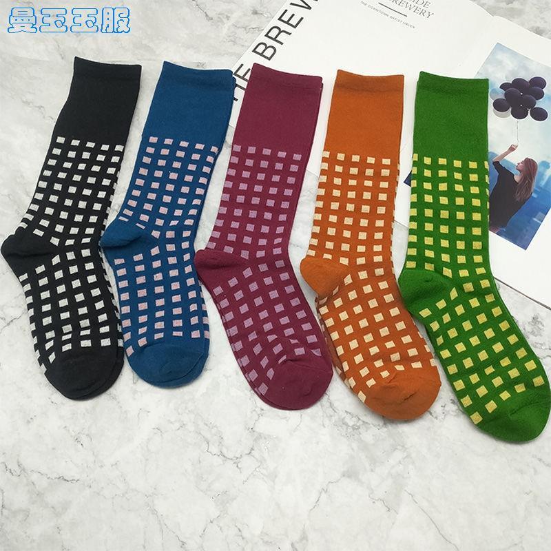 袜子丝袜黑色女中筒袜堆堆袜复古春秋季网红款ins潮长袜格子街头