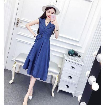 连衣裙女夏季新款时尚翻领性感时髦气质系带收腰显瘦不规则裙子潮