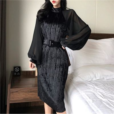 2020新品特卖少女款改良金丝绒旗袍裙秋装新款修身显瘦雪纺灯笼袖