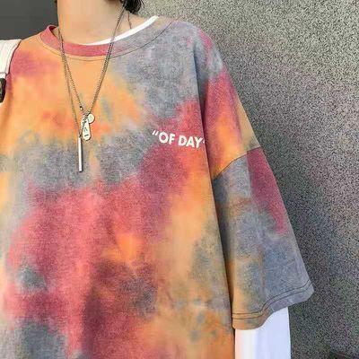 短袖扎染t恤男女2020夏季新款ins网红嘻哈风韩版宽松bf半袖上衣服