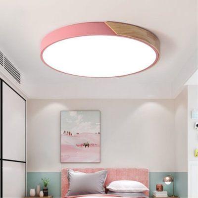 客厅灯长方形简约现代大气马卡龙北欧卧室灯led吸顶灯圆形橡木灯