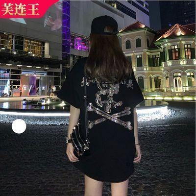 大码网红潮牌骷髅头烫钻黑色短袖T恤宽松下衣失踪学生情侣ins上衣