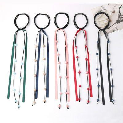 2020新品特卖丝带发圈发绳长飘带扎头绳女流苏缎带韩国蕾丝串珠条
