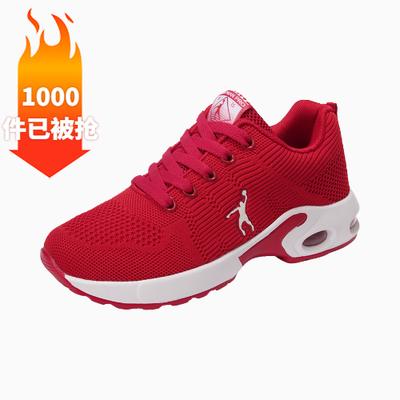 乔丹格兰鞋子女学生韩版网面鞋女气垫透气运动鞋女红色鞋子女网红