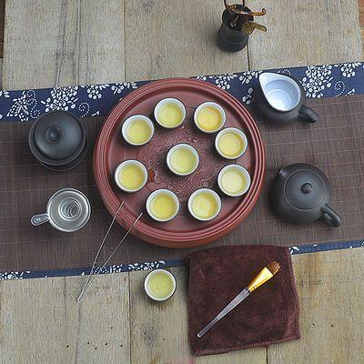 紫砂功夫茶具套装现代家用整套简约圆形储水式陶瓷干泡盘茶壶茶盘