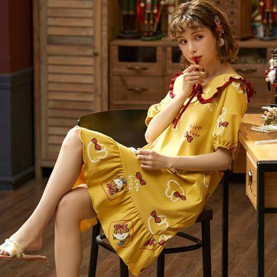 睡衣女夏睡裙女夏新款韩版可爱学生半袖长款大码少女孕妇裙家居服