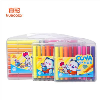 2020新品特卖真彩水彩笔大容量粗三角杆儿童绘画笔12色 24色 36色