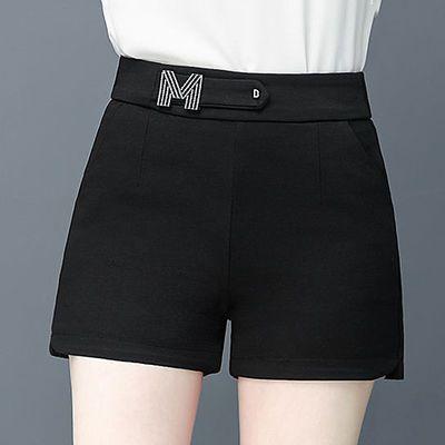 西装短裤女松紧腰夏高腰2020新款黑色阔腿A字裤宽松显瘦韩版外穿