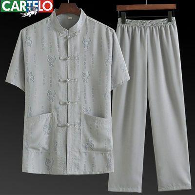 唐装男短袖休闲套装中老年人爸爸装夏装中国风男装汉服两件套衬衫