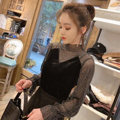 欧洲站蕾丝打底衫女2020春新款小衫网纱拼接金丝绒长袖设计感小众