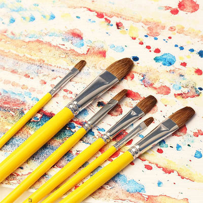 批发826精品狼毫水粉笔水彩笔油画排笔长杆圆头6支装送勾线笔3支