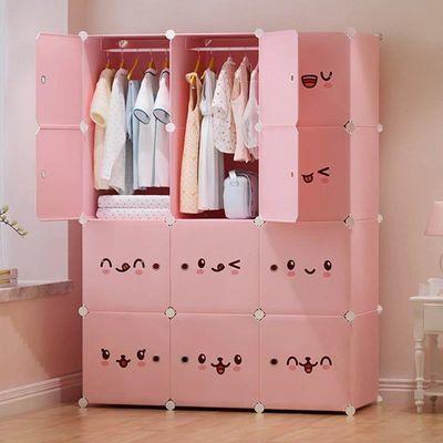 简易衣柜塑料布收纳架儿童女钢管加粗加固实木推拉门双人卧室家具