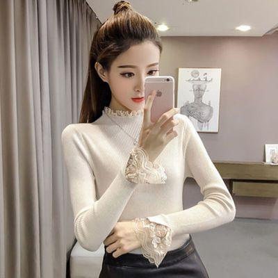秋冬蕾丝大码打底毛衣针织衫女韩版修身套头短款百搭紧身毛衣
