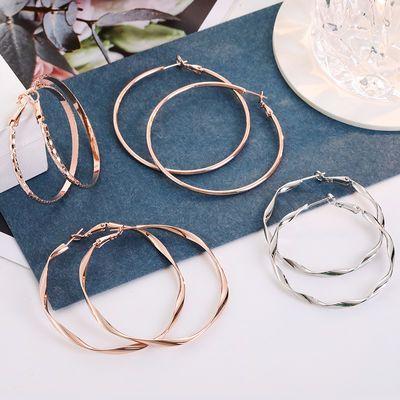 s925纯银圆圈耳环时尚耳圈韩国气质简约百搭大耳环圈圈耳扣防过敏
