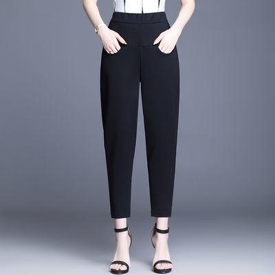 裤子女2020夏季新款宽松显瘦黑色西裤哈伦萝卜裤直筒九分休闲女裤