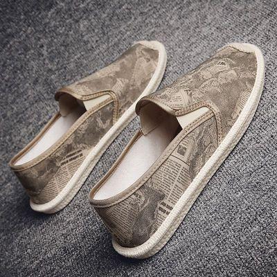 夏季韩版潮流百搭一脚蹬懒人板鞋男士休闲渔夫鞋老北京帆布鞋子男