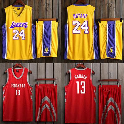 篮球服男套装詹姆斯24号全明星男勇士哈登火箭短袖球衣NBA出场服
