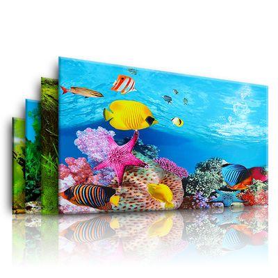 鱼缸背景贴纸鱼缸背景纸画高清图3d立体鱼缸底砂珊瑚石造景装饰画