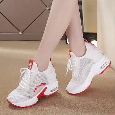 内增高小白鞋女8cm镂空透气2020夏季新款网面运动休闲坡跟旅游鞋