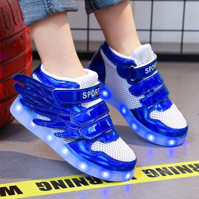 儿童七彩发光鞋男女童夜光鞋充电亮灯鞋女童闪光运动童鞋男童板鞋