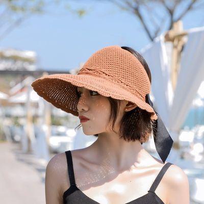 帽子女夏天遮阳帽韩版空顶可折叠百搭太阳帽出游防晒大沿凉帽草帽