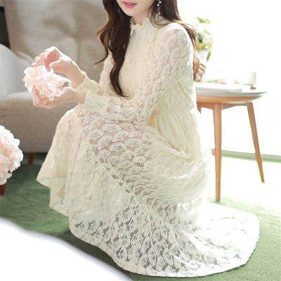 【24小时发货】加绒/不加绒春季女装打底蕾丝秋冬连衣裙裙子新款