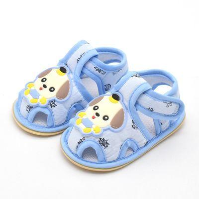 夏季宝宝凉鞋婴儿学步鞋0-1-2岁男女防滑软底公主鞋子包头叫叫鞋
