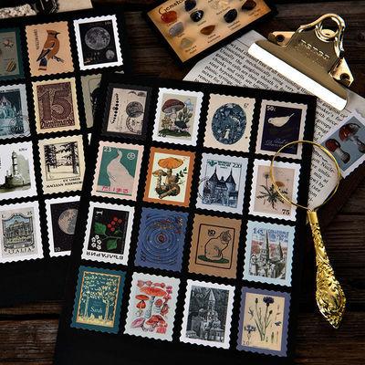 陌墨 集邮博物馆复古植物异形邮票手帐贴纸包diy装饰日记贴手账画