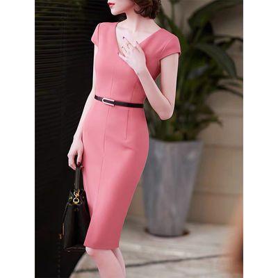 2020新款珊瑚粉v领法式优雅连衣裙轻熟风收腰包臀连衣裙