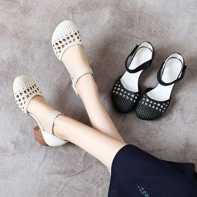 原创手工皮鞋2020新款女鞋夏季包头凉鞋妈妈鞋真皮软底中跟粗跟女