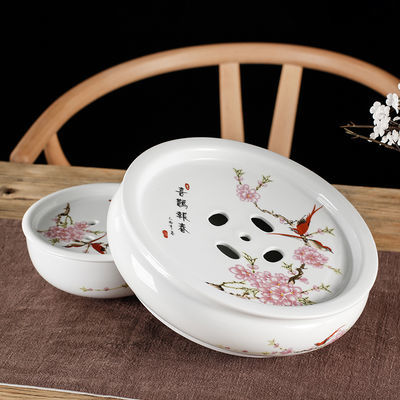 陶瓷茶盘 托盘 茶船圆形茶台茶座青花瓷功夫茶具茶盘储水双层茶托