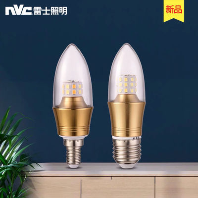 雷士led照明蜡烛灯泡e14小螺口e27大螺口节能黄白尖泡拉尾3w5w7w