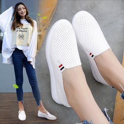 【单网可选】夏季镂空透气小白鞋女内增高坡跟一脚蹬网面休闲单鞋