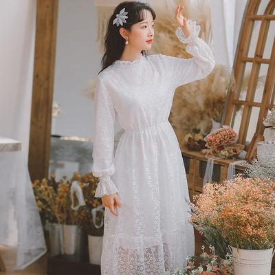 2020新品特卖春季蕾丝仙女连衣裙高级感女2020新款淑女范收腰显瘦
