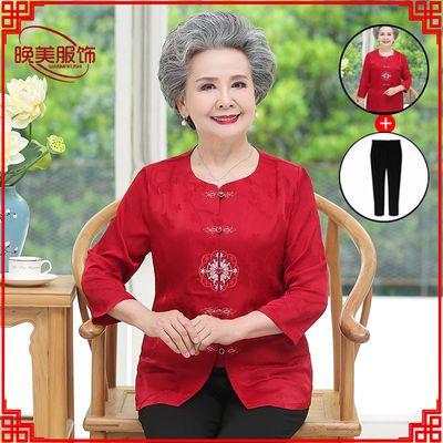 老年女装夏装60-70-80岁妈妈装七分袖衬衫中老年人衣服女绣花衣服