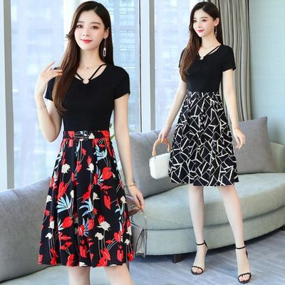 实拍女夏新款流行韩版中长款修身显瘦时尚假两件过膝印花连衣裙