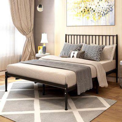 简约现代欧式金色网红铁艺床环保铁床1.2米1.5米单人双人铁架子床