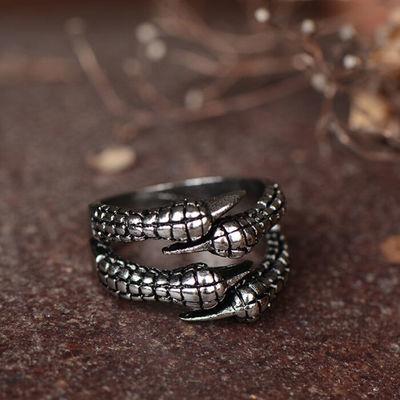 简约时尚个性鹰爪朋克复古戒指动漫韩版哥特式潮男士开口指环士酷