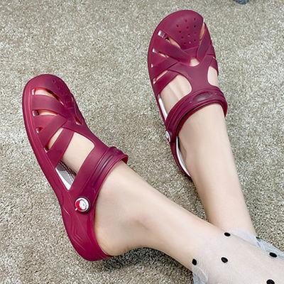洞洞鞋女夏季果冻凉鞋女韩版时尚平底防滑沙滩鞋新款甜美学生拖鞋