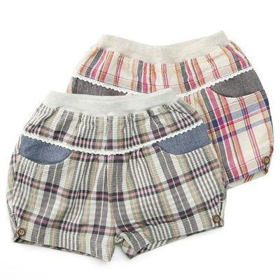夏季灯笼热裤女童全棉经典格子日系纯棉薄款可爱短裤313