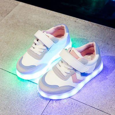 春夏儿童发光鞋男童运动鞋亮灯鞋USB充电闪灯鞋女童鞋led带灯童鞋