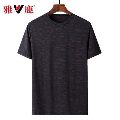 雅鹿夏冰丝高弹透气速干男圆领短袖大码纯色宽松休闲运动上衣T恤